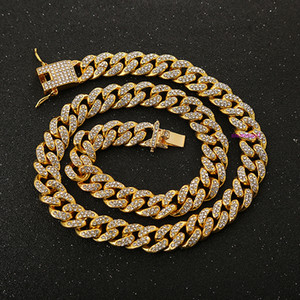 Fashionable People In Europe and The United States Cool with Hip-hop Necklace Inlaid with Diamond Big Gold Chain and Cuba Chain