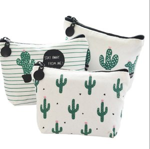 Fashion Canvas Cactus Pencil Bag Coin Storage Case Cosmetic Makeup Pouch Stationery School Supplies 6 Colors WQ731