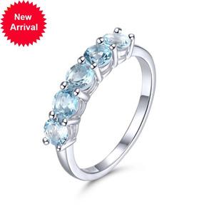 Hutang aquamarine anel de genuno pedra preciosa slido 925 prata esterlina anis do vintage fino elegante feminino jias para o