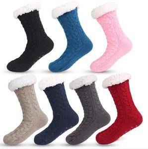 Femmes Slipper Chaussettes Crochet Tricot Sol Chaussette Chunky Fleece Peluche Plush Doublure Chaussettes Chaussettes non glissées Cachoires Bas de neige de pluie Chaussette E121506