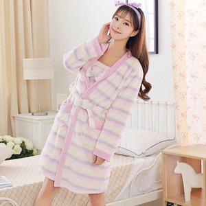 2PCS Casual Striped Long Sleeve Thick Warm Flannel Nightgowns Robe Sets Women Winter Coral Velvet Sleepwear Bathrobe Night Dress