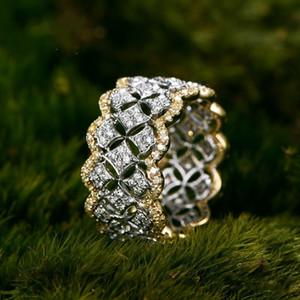 18k Rose Gold Pave Diamante Anel Real 925 Esterlina Prata Bijou Noivado Anéis de Banda de Noivado para Mulheres Bridal Party Jóias Presente Y1124