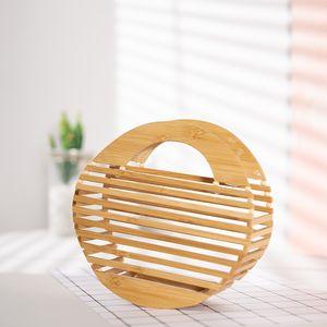 Bolsa de Realer Bolsa Pequena Bambu Para As Mulheres 2020 Designer Hollow Wooden Saco Top-Handle Feminino Feminino Feminino Férias Beach Saco Para Senhora