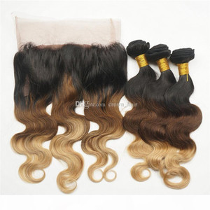 #1B 4 27 360 Lace Band Frontal With Body Wave Virgin Human Hair Bundles Honey Blonde Hair Weft With 360 Lace Frontal