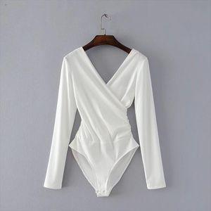Long Sleeve Bodysuit Women Backless Jumpsuits Black White Body femme monos cortos de mujer 2018 Drop Shipping