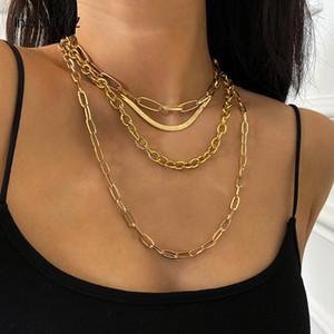 2021 ZB21 Ingesesight Z 4pcs / satz Multi Layered Chunky dicke Miami Bordsteinkubanische Chopkette Halskette Gothic Gold Farbe Schlangenkette Halsketten Schmuck
