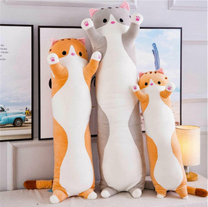 2021 cartoon cat plush toy giant super soft pillow cute kitten doll hugging long sleeping pillows 50cm 70 90 110 130 cm for girl gift deco