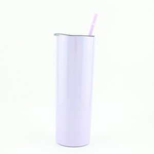 New! 20oz Rainbow Print Sublimation Skinny Tumblers With Straw and lids Stainless Steel Bottle Double Insulated Slim Vacuum Cups Coffee Milk