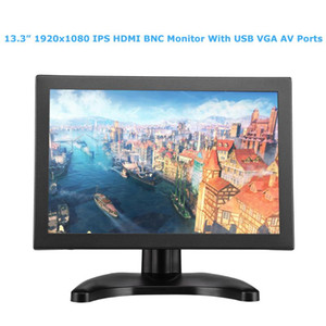 "EYOYO 13.3 ""IPS BNC Monitor 1920x1080 FHD écran LCD VGA AV Écran USB pour ordinateur portable PC Système de vidéosurveillance"