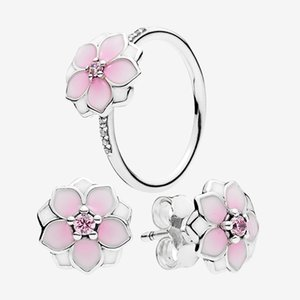 Pink flower Cute Jewelry sets Ring and Stud Earring with Original box for pandora 925 Sterling Silver Rings Earrings set for Women Girls