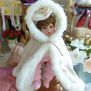 Lungo Bambino con cappuccio Floor Languaget Cape Cloaks Giacca di pelliccia Faux per Winter Kid Flower Girl Bambini Bambini Matrimonio Cloak 3HXK
