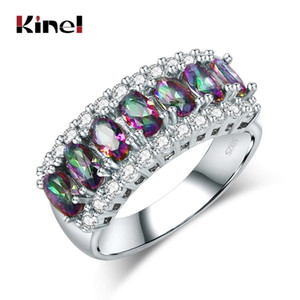 Kinel Fashion Colorful Blue Stone Tibetan Silver Ring For Women Exquisite Bridal Wedding Jewelry 2020 New