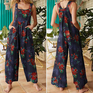 Women Fashion Sleeveless Straps Wide Leg Pants Sexy Printed Rompers Summer Jumpsuits Casual Long Overalls Vintage Suspenders 5XL