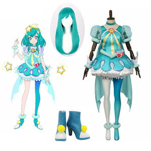 High Quality Unisex Anime Star Twinkle Precure Hagoromo Lala Cure Milky Cosplay Costumes Dress Sets Wig Shoes