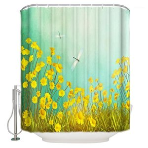 Sunflower Blossom Dragonfly Giallo Giallo Verde Plant Shower Shower Tenda impermeabile Polyester Bath Tenda1