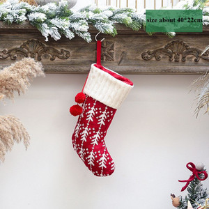 Knit Christmas Stockings Decor Christmas Trees Ornament Party Decorations Reindeer Snowflake Stripe Candy Socks Bags Xmas Gifts Bag CCA2769