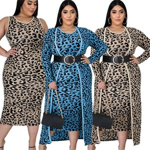 Plus size Women Two Piece Clothing Brand designer Ladies Dresses Long sleeve Long Coat+sundress Leopard Printing Without Belt 2 colors 4060