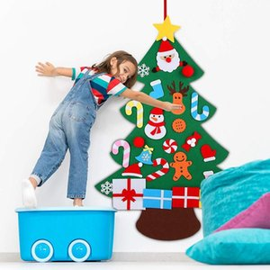 LBER 3D Felt Christmas Tree Wall Hanging 3Ft Christmas Tree Set with Ornaments for Kids Xmas DIY Decorations
