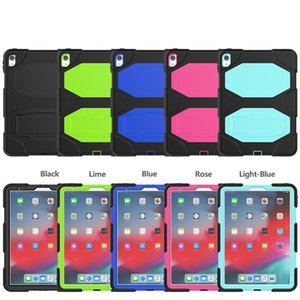 Thre-layer Protection PC Silicon Shockproof Case for Ipad Air Samsung Tab A with Kick Stand Multi Function
