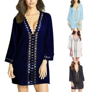 Summer Women Cover Up Beachwear Holiday Solid Swimwear Fashion Cover Ups Soft Loose Short Bohemian Sexy Spring Casual
