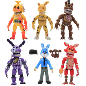 6Pcs set Have sound Lightening Movable joints Five Nights At Freddy's Action Figure Toys Foxy Freddy Chica PVC Model Dolls With Z1120 Z1120