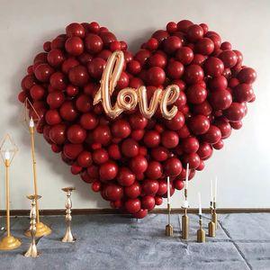 Double Layer Dark Red Balloons Cherry Red Heart Balloons Wedding Decoration Balloon Happy Birthday Party Helium balloon HHE3373