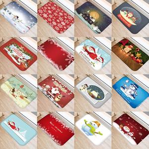 Navidad Muñeco de nieve Doormat de entrada puerta impresa Decoración para el hogar Coral Fleece Alfombra Sala de estar Baño No-antideslizante Mats Alfombra 48236
