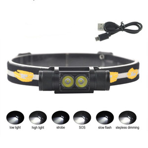 Hot D10 D25 2000lumens XM-L2 LED Mini Headlamp 6-Mode USB Rechargeable Headlight Bicycle Flashlight