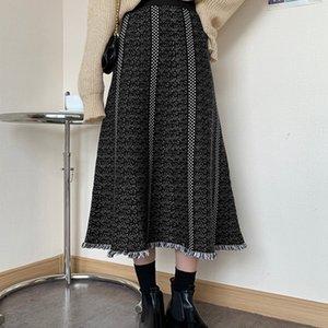 SMTHMA High Waist Knitted Winter A-Line Long Skirt Stretch Women Warm Beige Faldas Jupe Femme Saia