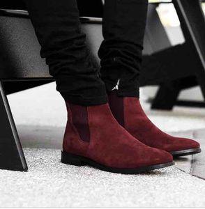 Красные подошвы дизайнеры мужские красные замшевые кожаные кожаные сапоги лодыжки ботинок мужчина красный нижний доход квартира для мужчин ботильоны на лодыжках зимняя модная обувь квартира