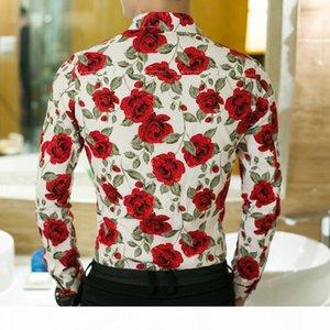 Mens 2019 роскошный дизайнер розовая блузка лето осень весенняя мода одежда с длинными рукавами для человека цветочные повседневные блузки