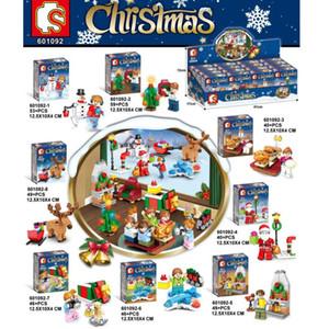 8 adet / takım Noel Cadılar Bayramı Rakamlar Noel Ağacı Elk Geyik Santa Maddesi Yapı Taşları Tuğla Oyuncaklar Çocuklar Için LJ200930