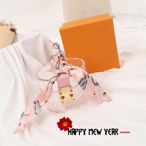 2021 Moda Kolye Saklama Çantası Kişilik Şeffaf Mini Tote Çanta Klasik Mektup Baskılı Kadın Çanta Şerit ile