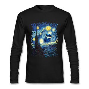 Comodo uomo T-shirt Telefono Cabina Doctor Who Van Gogh Starry The Night Night 100% Cotton Round Collar Manica lunga Top Tee per i giovani