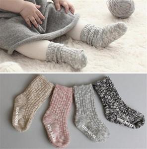 0-4 anos bebê crianças infantil meias confetti médio nível longo meias antiderrapuni toddlers piso sapatos de meia 10 cores sólidas meias soltas ly11263