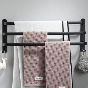 Suspensión de la toalla montado en la pared 30-50 CM toalla de baño estante de aluminio Negro barra de toalla del carril Mate Negro Toallas Holder