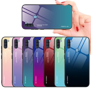 Samsung A21S Cell Phone Case A71 Creative Gradient Tempered Glass Cover Note 10 Pro Anti-fall Protective Cover S20 Plus 7 Colors