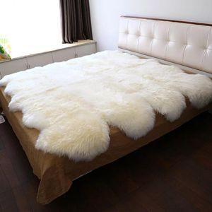 Merino sheepskin rug for mattress, sheep skin decoration carpet for living room, fur blanket, bed slide rug 150*200 cm