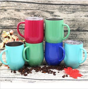 Egg Cups Double Wall Vacuum Insulated Beer Mugs Stainless Steel Wine Glass Powder Coated Coffee Mugs BBA183