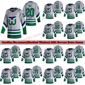Hartford Whalers Carolina Hurricanes Jersey 2020-21 Ters Retro 20 Sebastian Aho 11 STAAL 10 Francis 86 Teuvo Teravainen Hokey Formaları