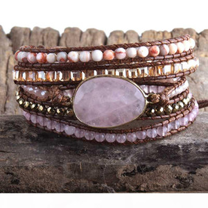 MD Fashion Boho Beaded Bracelet Handmade Mixed Natural Stones & Crystal Stone Charm 5 Strands Wrap Bracelets Gift DropShipping