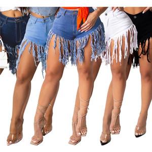 Calças de cor pura Knickers Denim Calças Sexy Moda Tassel Womens Shorts Skinny Short Jean calças de perna reta jeans doces cores klw6095