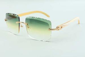 2021 직접 판매 고품질 절단 렌즈 선글라스 3524020, 흰색 경적 사원 안경, 크기 : 58-18-140mm