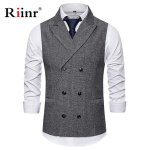 Mens Formal Double Breasted Vests Classic Suit Gilet Homme Slim Fit Coffee Waistcoat Men Marriage Chalecos Para Hombre 201105