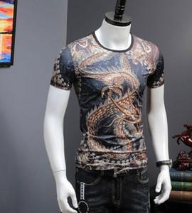 T-shirt Summer Clothes 2021 High Quality Slim Fit Mens Dragon Shirt Print Tshirts 5p88