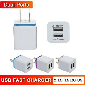 2.1A Metal Dual USB Wall Charger US EU Plug AC Universal Power Adapter Plug 2 Ports Chargers for iPhone iPad Samsung Tablet