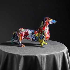 Creative Home Modern Painted Colorful Dachshund Dog Decoration Wine Cabinet Office Decor Desktop Crafts Q1124