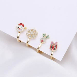 2020 hot selling Christmas style no pierced ear bone clip jewelry deer Santa Claus 18k gold plated zircon earrings Christmas gift for women