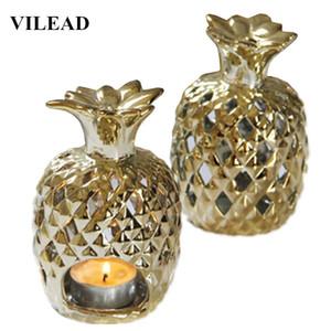 VILEAD 4.9 '' Ceramic titulares abacaxi Vela Figurines chapeamento de ouro Pineapple Fruit Ornament Candel Titular Model Home Decor