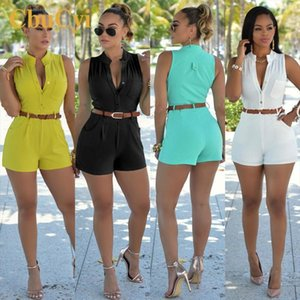 2019 New Style Rompers Womens Casual Jumpsuits Large Size Deep V neck Overalls for Women Rompers Polyester Bodysuits with Belt